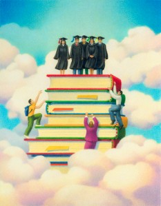 Three People Climbing a Pile of Gigantic Books Where a Group of Graduates Are Standing on Top.